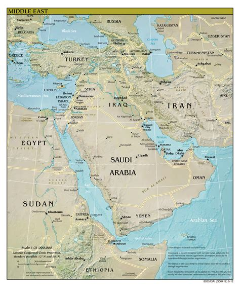 middle east map of cities large detailed relief and political map of middle east