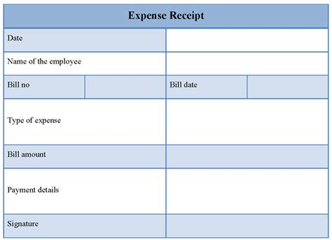 receipt template for expense exle of expense receipt