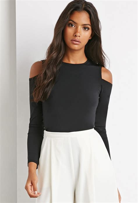 Cutout Top forever 21 cutout shoulder top in black lyst