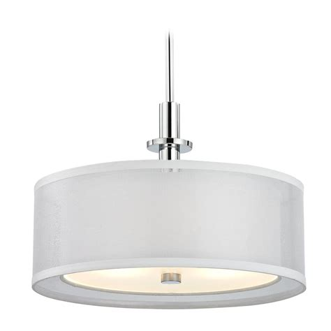 White Pendant Drum Light Organza Drum Pendant Light Chrome 16 Inches Wide 3 Lt 1274 26 Destination Lighting