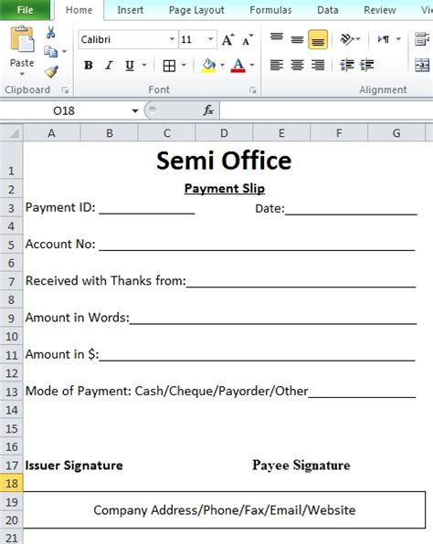payment slip format in word and excel free download
