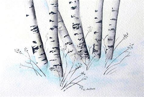 original birch tree painting winter landscape snow
