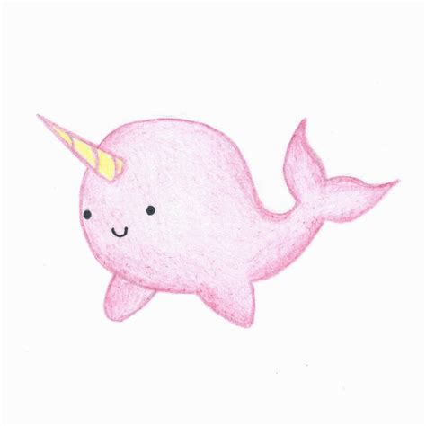 Kawai Pink narwhal drawing pictures to pin on pinsdaddy