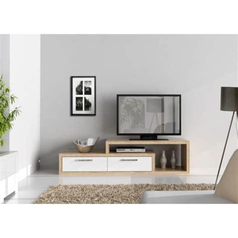 SHINE Meuble TV 170 cm blanc/chêne   Achat / Vente meuble