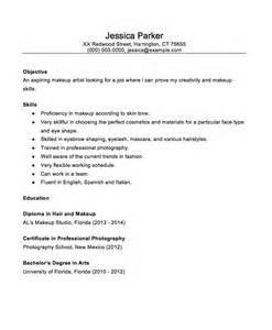 sle of simple resume entry level makeup artist resume sle makeup vidalondon
