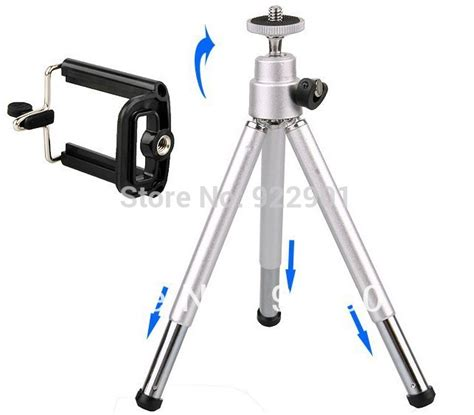 Tripod Mini Holder U Silver Gratis Paket Hadiah silver color sale mini tripod stand holder for mobile cell phone iphone 4 4g 5 5g