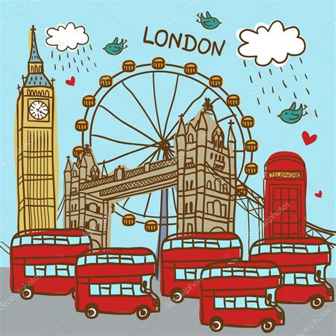 wallpaper london cartoon london england city background stock vector