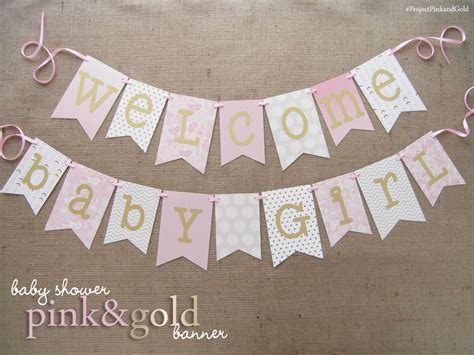 Baby Shower Banner Sayings Ideas by Pink And Gold Baby Shower Banner Welcome Baby