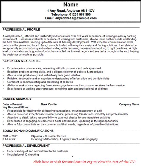 Resume Sle Of Bank Clerk Bank Clerk Cv Exle Forums Learnist Org