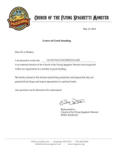 letter of standing template pin sle letter of standing on
