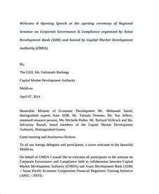 Opening Address Speech Sle welcome speech exle oig audit report 07 42 28