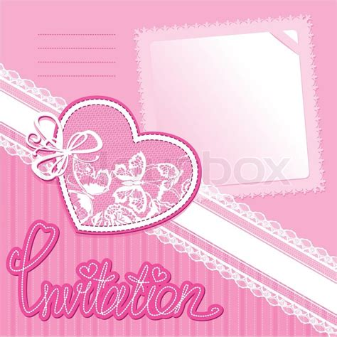 Wallpaper Design Home Decoration by Heart And Piace Of Paper On A Pink Background Invitation