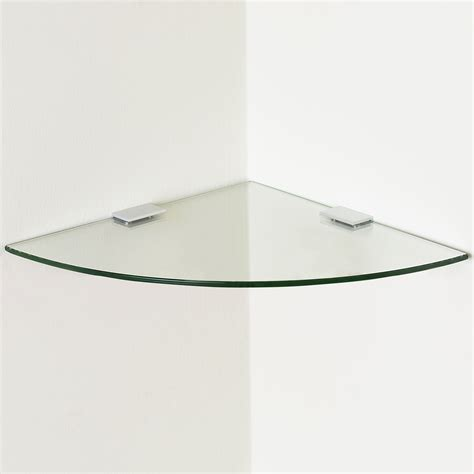 Small Floating Glass Shelf by Small Clear Curved Glass Floating Corner Shelf Wall