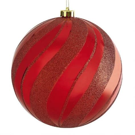 jumbo red swirl stripe shatterproof ornament christmas