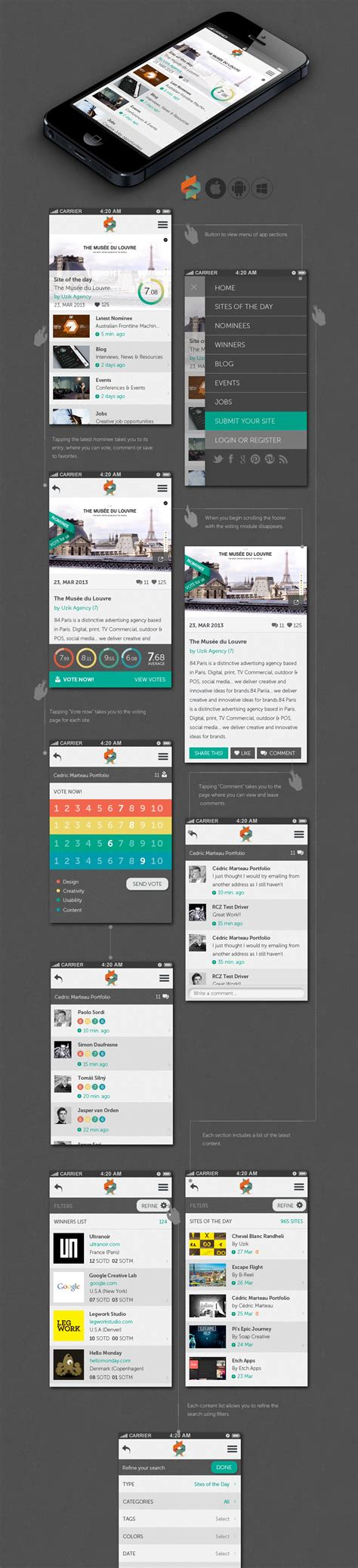 layout app help help us create the new awwwards mobile app
