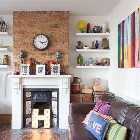 Decorating Ideas For Living Room With Chimney Breast Modern Living Room With Exposed Brick Chimeny Breast