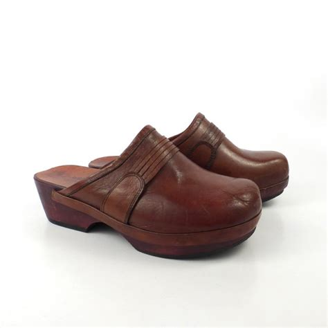 wood clogs for leather wooden clogs vintage 1970s wood platform whiskey brown