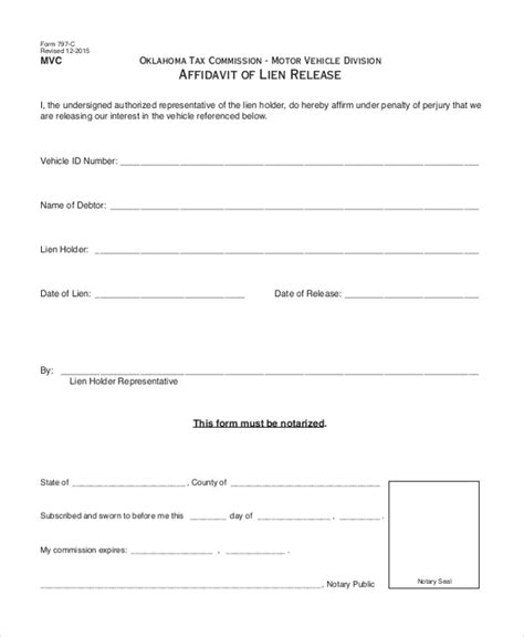 release of lien form sle lien release form 11 free documents in doc pdf