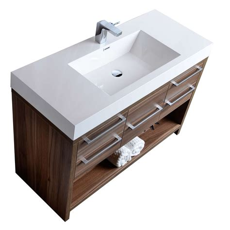 47 quot modern bathroom vanity set walnut finish tn l1200 wn