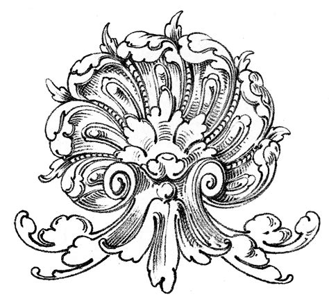 vintage ornamental clip art shell with scrolls the