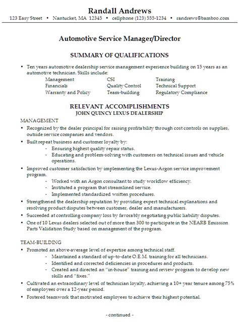 Resume Exles For Service Manager Resume Automotive Service Manager Director