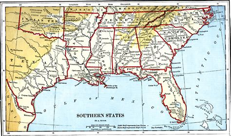 southern states map southern states