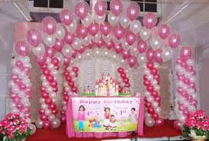 Birthday Decoration Ideas At Home With Balloons Pink And White Balloon Decorations Birthday