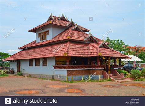 Traditional architecture of a tiled roof house in Kerala