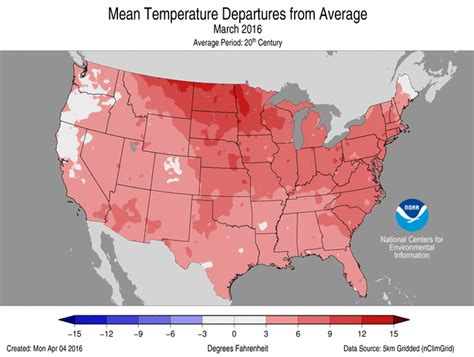 us average temperature map march national climate report march 2016 state of the