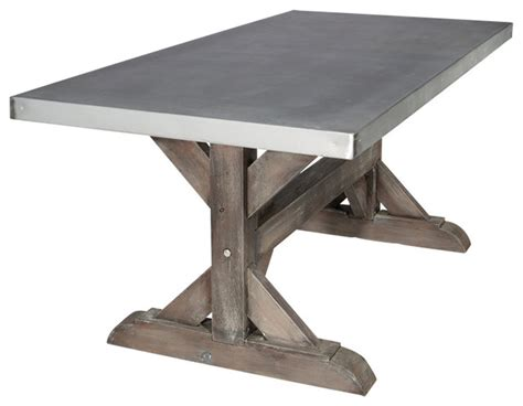 Farm Table Dining Room Set zinc farm trestle table rustic sand 6 industrial