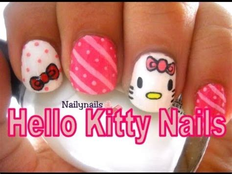 imagenes de uñas de hello kitty hello kitty nails u 241 as de hello kitty youtube