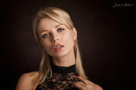 wallpaper women blonde face blue eyes black clothing