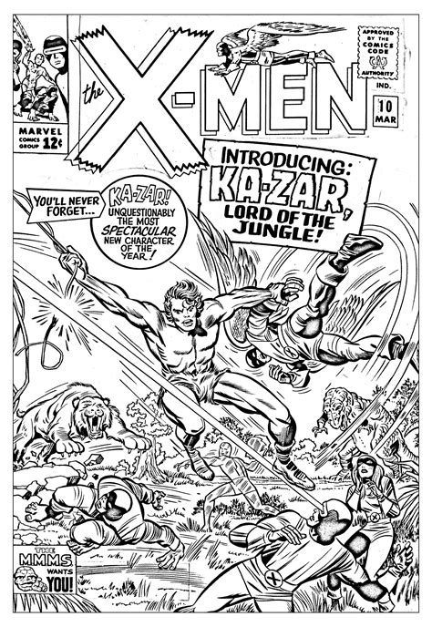 Comic Book Coloring Page Rates | pour adulte comics xmen 1965 couverture inedite gratuit a