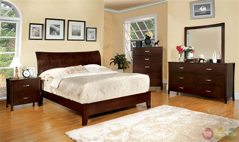Cherry Bedroom Furniture Midland Contemporary Brown Cherry Bedroom Set With Wooden Headboard Cm7600