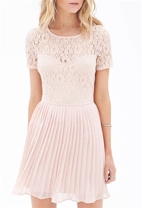 Dress Lace Import 1 lyst forever 21 pleated lace combo dress in pink