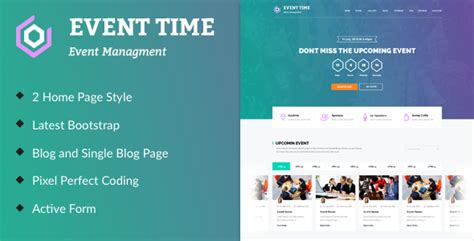 Event Time Conference Event Html Template By Themeinnovation Themeforest Conference Website Template Free