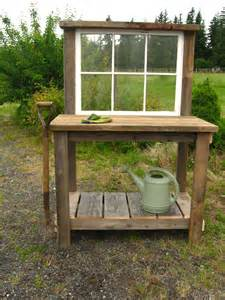 Potters Bench Plans Rustic Potting Bench With An Old Window 130 Dream