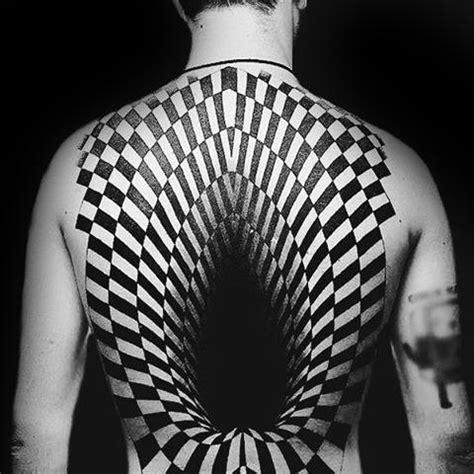 pattern tattoo back 40 geometric back tattoos for men dimensional ink ideas
