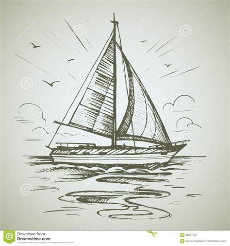 boat scene drawing sailing boat scene vector sketch stock vector