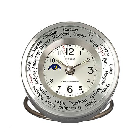 atop world time alarm clock silver atop clocks touch of modern