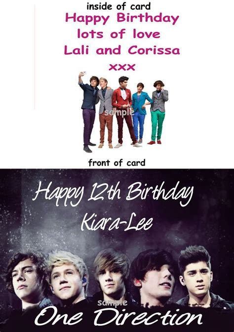 printable birthday cards one direction birthday card with one direction print personalised with