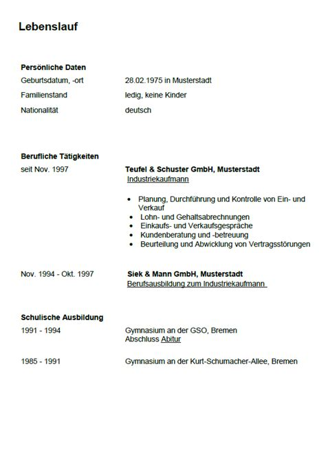 Lebenslauf Ausbildung Kaufmann Bewerbung Industriekaufmann Gek 252 Ndigt Berufserfahrung Sofort