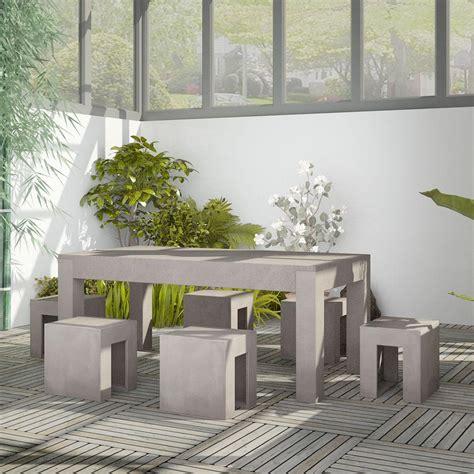 Salon De Jardin En Beton by Salon De Jardin En B 233 Ton Complet Table Avec 6 Tabourets