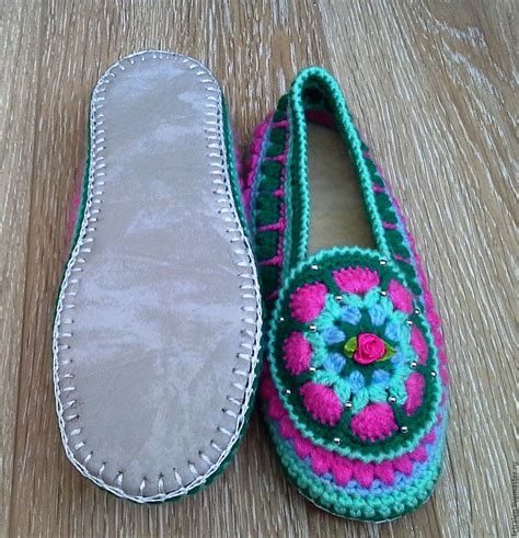 crochet slippers with soles crochet slippers with leather soles crochet and knit