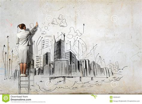 Berlin Wall Mural businesswoman drawing on wall stock image image 33035421