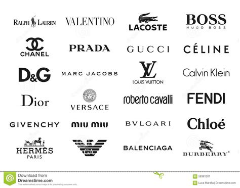 list of designers fashion brands logos editorial photo illustration of