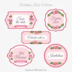 pink wedding labels vector premium download