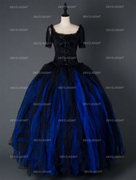 black  blue short sleeves gothic corset long prom party