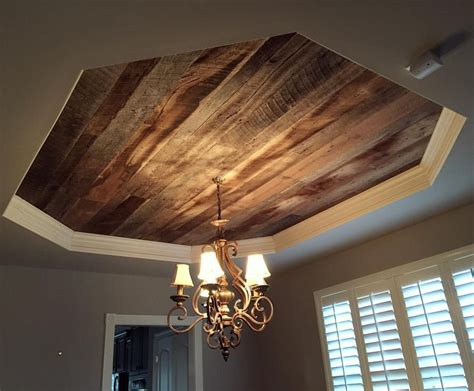 Wood On Ceiling by We Installed Our Barn Wood Skins On This Dining Room Tray