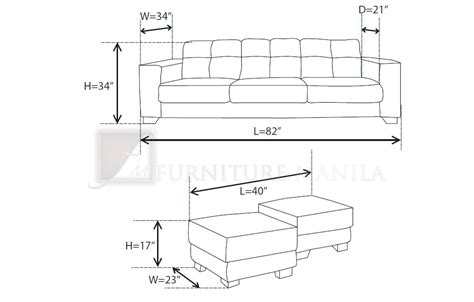 average sofa length standard furniture dimensions metric